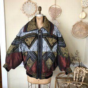 1980's Gaudy Bomber Oversize Puffer Jacket Coat S